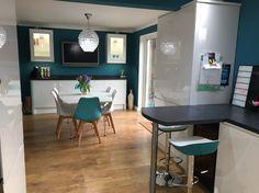 Howdens white gloss kitchen, Vardo farrow and ball walls ,