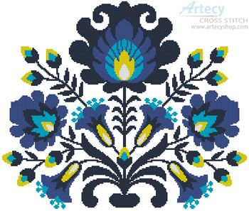 Artecy Cross Stitch. Polish Folk Art Blue Crossing Cross Stitch Pattern to print online.