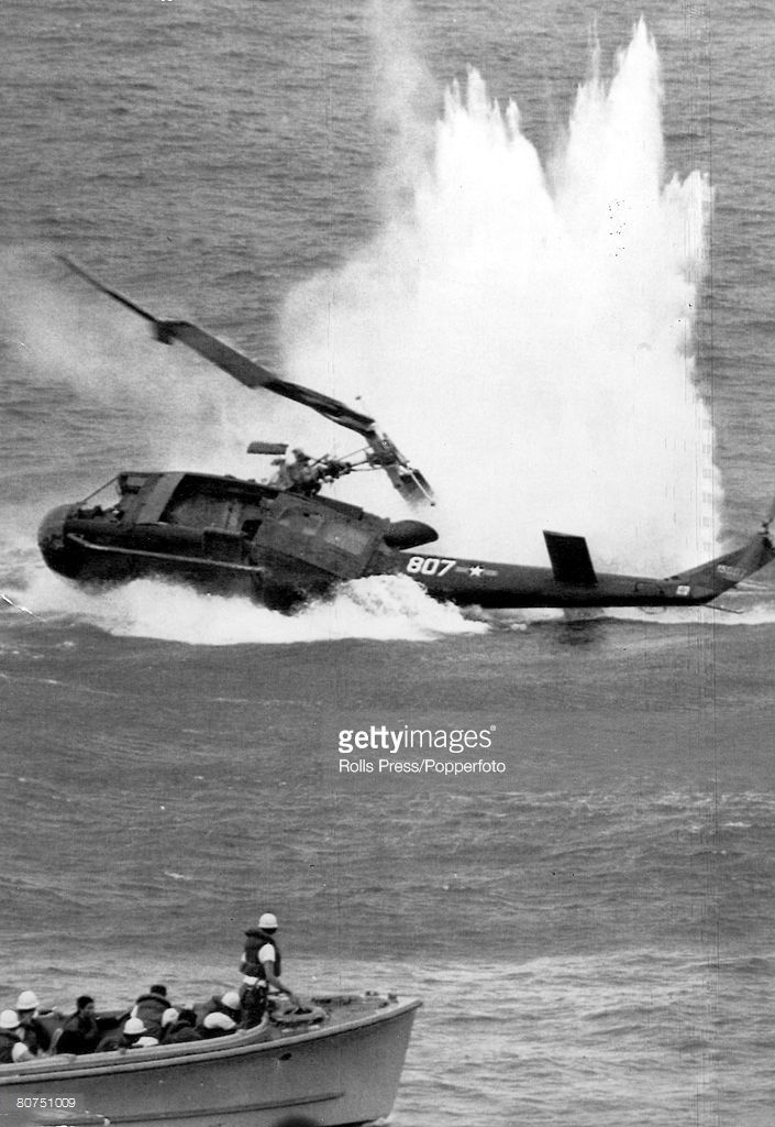April 1975, South Vietnam, An American military helicopter crashes into the sea during the US, evacuation operation from South Vietnam