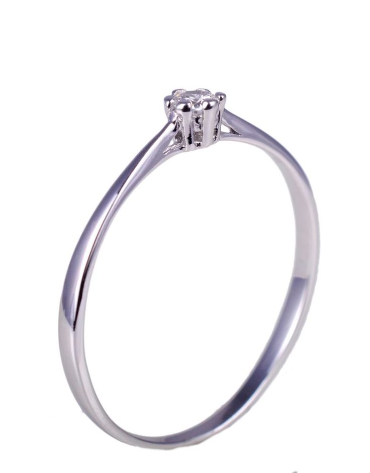 18 KT White Gold 750 Ring Solitaire Engagement with Diamond Made in Italy