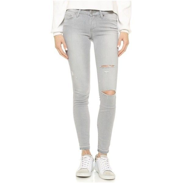Paige Denim Verdugo Ankle Skinny Jeans ($220) ❤ liked on Polyvore featuring jeans, grey mist destructed, destroyed jeans, grey ripped jeans, torn jeans, polka dot skinny jeans and ankle zipper skinny jeans