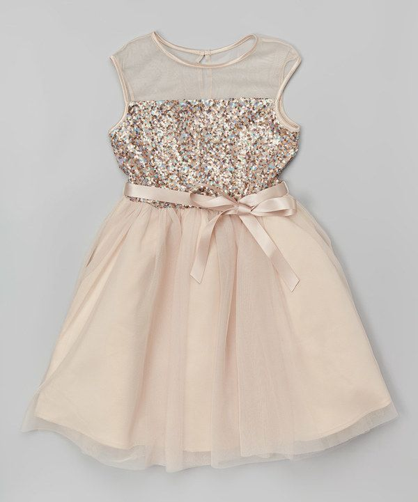 Look at this Zunie & Pinky Gold Sequin Tulle Dress - Girls on #zulily today!