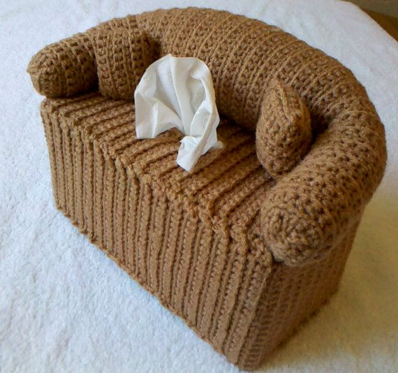 Couch And Pillows Tissue Box Cover Hand Crocheted