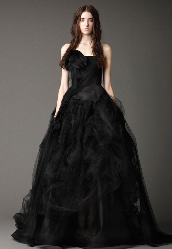 Vera Wang Black Tulle Wedding Gown