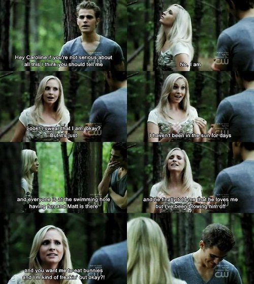 """""""... and now you're laughing"""" Stefan teaching Caroline ahh vampire diaries"""