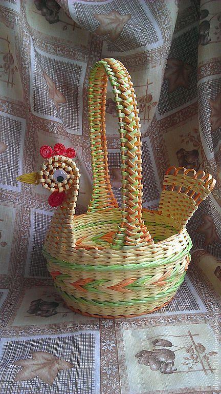 """Купить Корзина """"Светлая Пасха"""" - плетение из газет, плетение из бумаги, бумага, трубочки бумажные"""