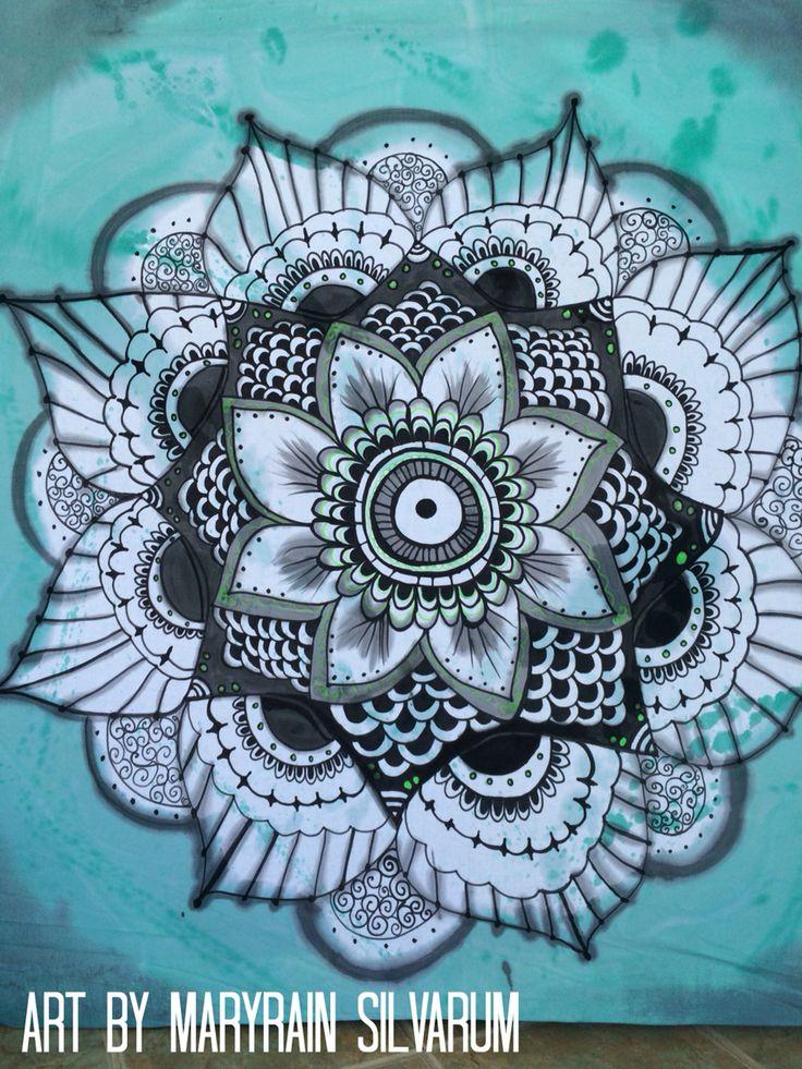 Free hand painted mandala