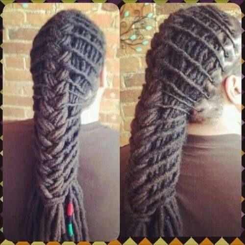 Dread styles for menAlso totally work for women. Cool dread fishtail braid!! Check these tips out. Lots of styles #dreadstyles #dreads #dreadtips