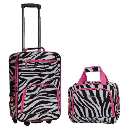 Rockland Luggage Rio 2-Piece Carry On Luggage Set, Pink Zebra