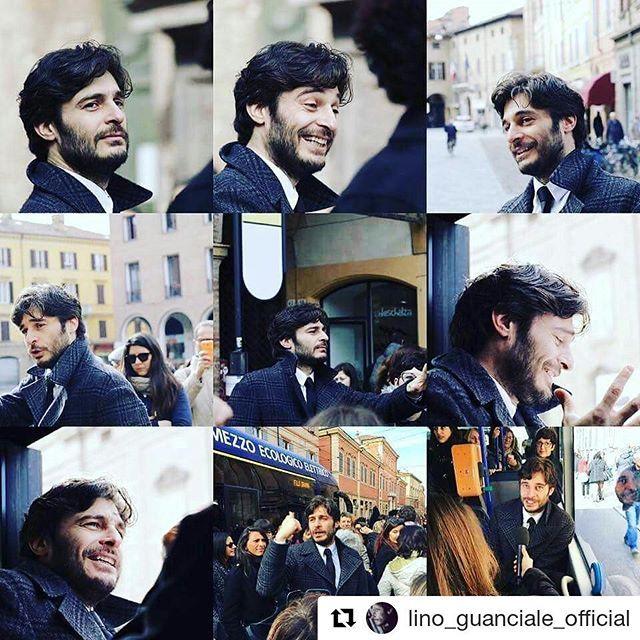 """#Repost @lino_guanciale_official with @repostapp  ・・・  Grazie a Daniela Menzani per le bellissime foto... ecco cosa abbiamo fatto stamattina, con la Compagnia di cui da anni faccio parte, a Modena! Un bellissimo spettacolo in filobus per il progetto #unbeldisaremo GRAZIE A TUTTI VOI CHE AVETE PARTECIPATO!!! A dopo per altre immagini dello spettacolo """"Linea F(uturo)""""  #linoguanciale #modena #lineaf ♥♥♥"""