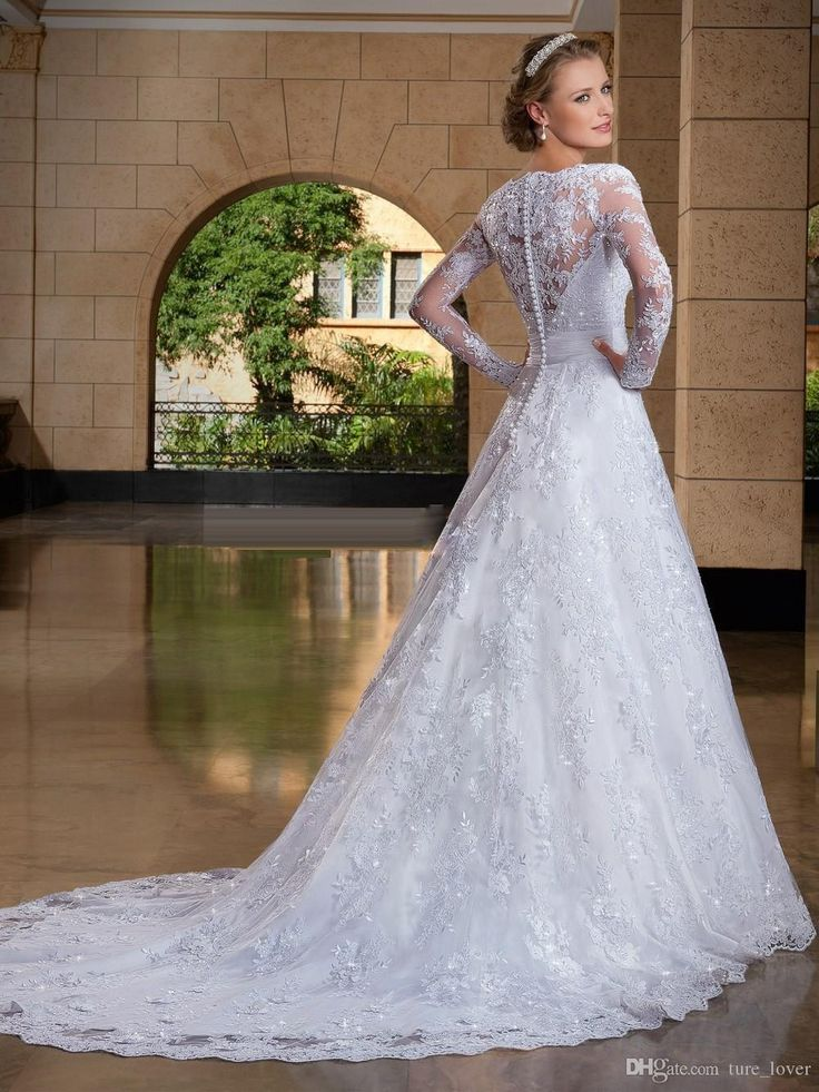 2016 A Line See Through Back Long Sleeve Wedding Dress With Lace Appliques Bridal Gowns Custom Made Elegant As Low 15075 Also Buy
