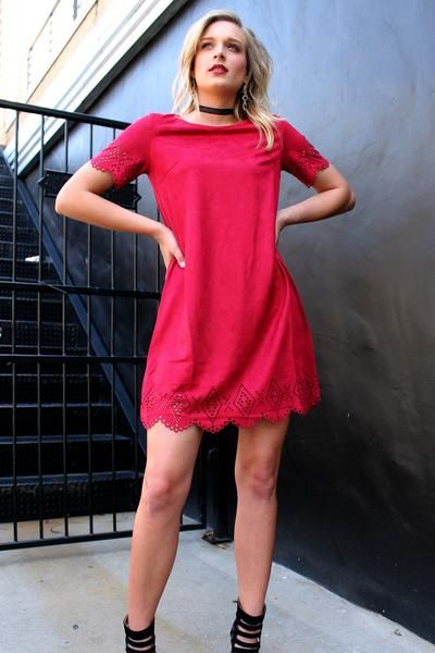Passion Suede. #dress #capsleeve #detail #suede #red #simple #flowy #cute #gameday #razorback #arkansas #ootd #christmas #holiday #party #fashion #look #gohogs #tailgate #style #women #scalloptrim #fall #winter