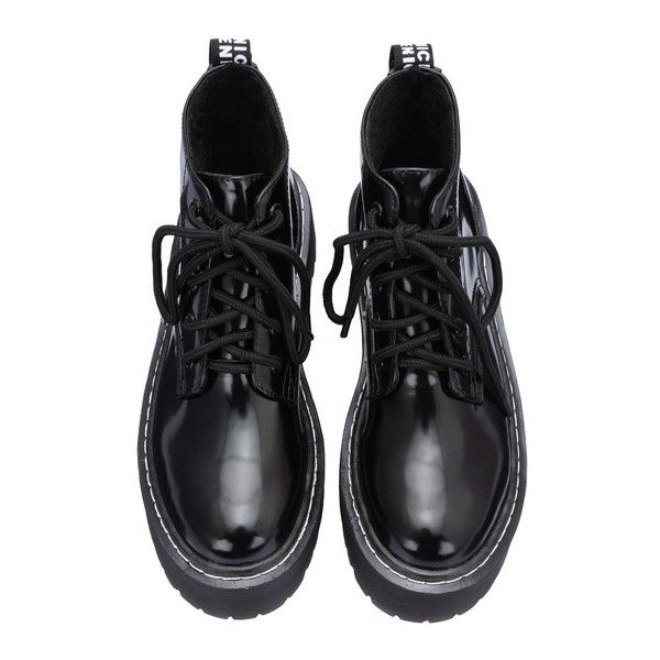 SheIn(sheinside) Black Round Toe Thick-soled Lace Up Boots (160 PLN) ❤ liked on Polyvore featuring shoes, boots, ankle booties, black, lace up booties, black winter boots, platform booties, black ankle booties and black lace-up boots