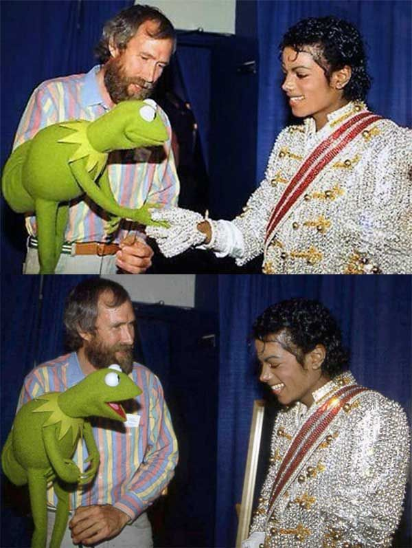 Michael Jackson meeting Kermit the Frog and Jim Henson 1984 | Rare and beautiful celebrity photos