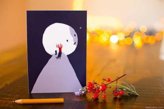 "Greeting Card "" Red Tree "" by Sansu"