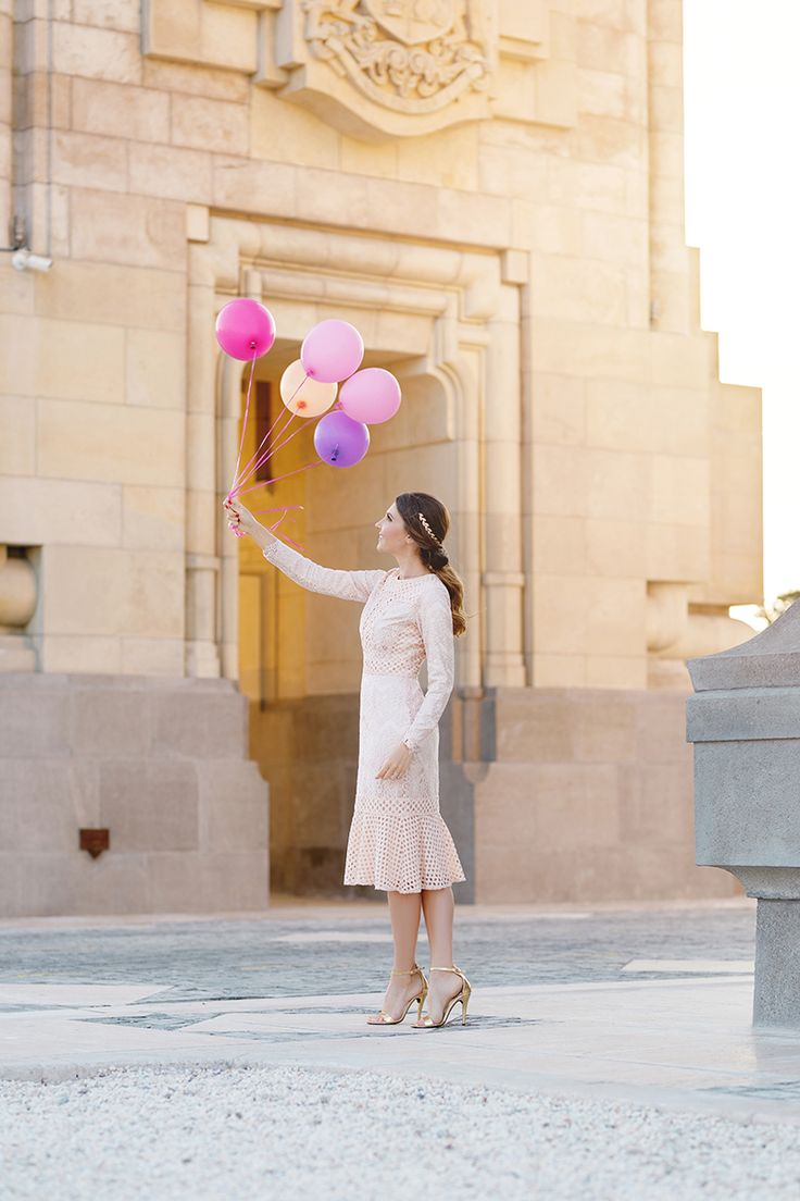 Having fun with some colourful balloons in apastel pink lace dress from  @daintyjewells today on my blog:  http://larisacostea.com/2017/04/sweet-peony-dress/