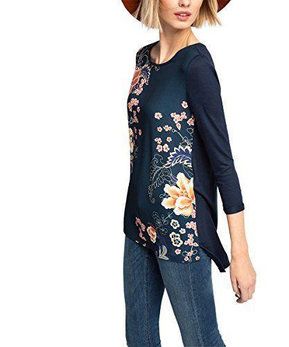 edc by ESPRIT 105CC1K059-Materialmix, T-Shirt Femme, Bleu (Navy 400), M (Taille Fabricant: M): Tweet