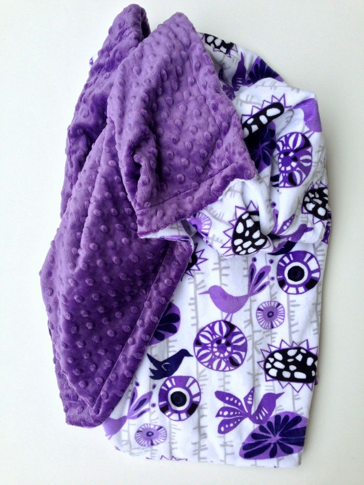 Purple Minky Baby Blanket, Bird Theme Baby Blanket, Floral Blanket,Car Seat Blanket,Stroller Blanket,  Girl Blanket, Infant Size 29 x 36 in by DesignsByDiBlankets on Etsy https://www.etsy.com/listing/252121204/purple-minky-baby-blanket-bird-theme