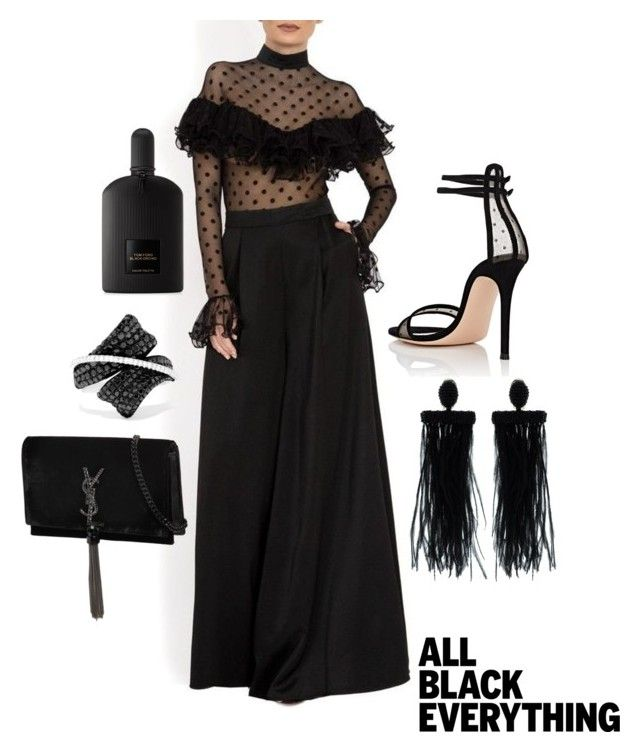 """""""All black everything"""" by extravagantf on Polyvore featuring Gianvito Rossi, Oscar de la Renta, Tom Ford, Effy Jewelry and Yves Saint Laurent"""