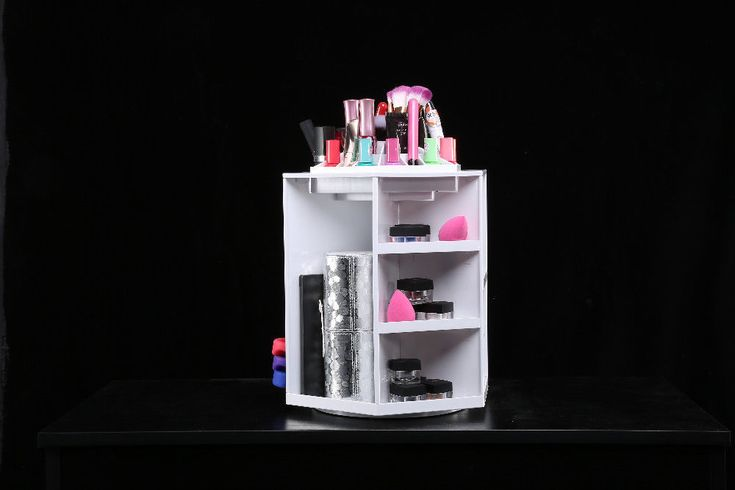 Rotating Makeup Organizer Cosmetics Storage Jewelry  Box Case Plastic in White #Unbranded #Modern