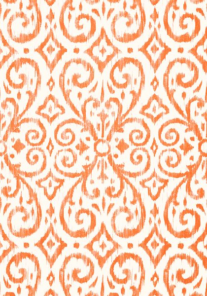 Patara Ikat #wallpaper in #coral from the Caravan collection. #Thibaut
