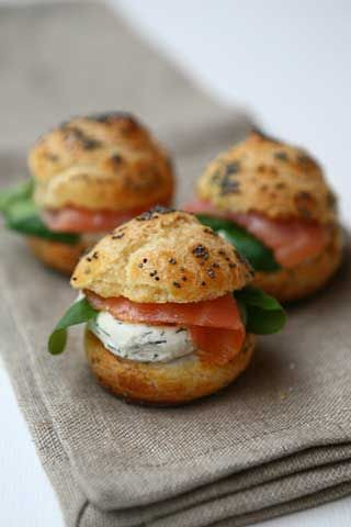 Salmon and cream cheese puffs, great brunch item.