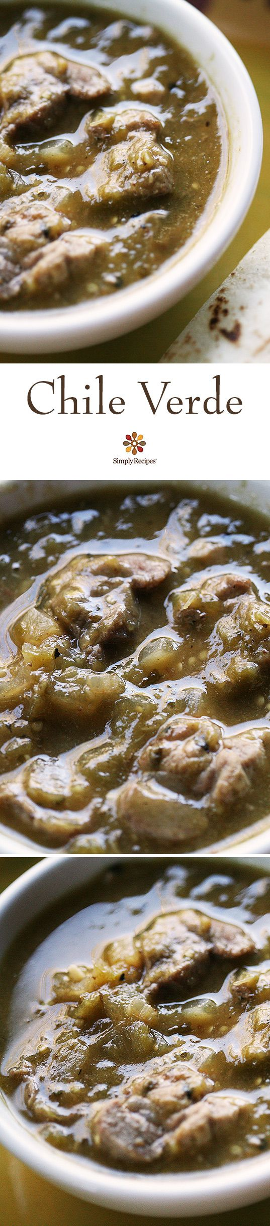 Authentic Mexican pork chile verde! with chunks of pork shoulder slow cooked in a roasted tomatillo and jalapeno chile verde sauce. So good! #Tomatillos #ChileVerde #MexicanFood #Pork