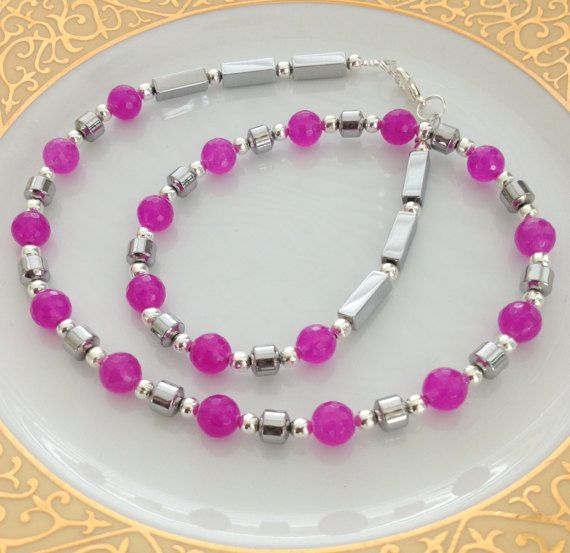 Bright Pink and Silver Necklace Fuschia by AwfyBrawJewellery
