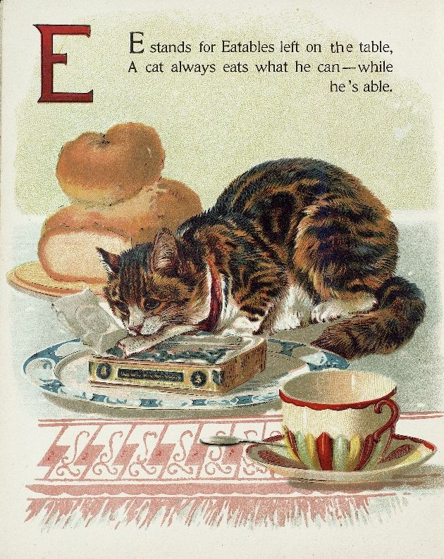 """Letter """"E"""" (from """"Cats and kittens ABC"""", Father Tuck's Nursery Tales series, 1890s)"""