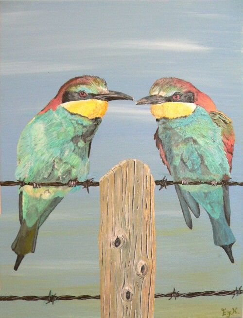 On The Wire, Bee-eaters. by ellenisworkshop on Etsy