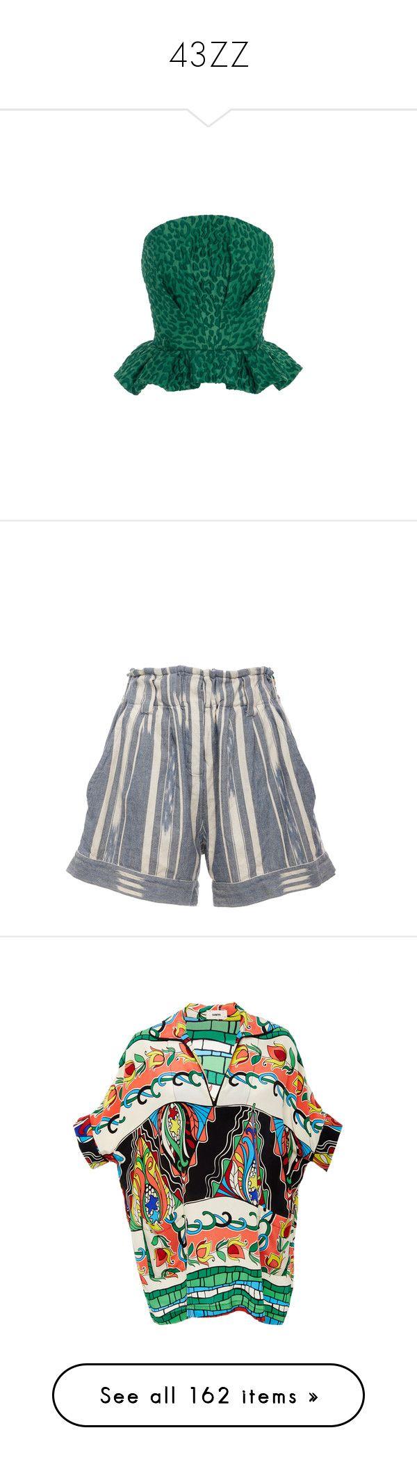 """43ZZ"" by mattressqueen ❤ liked on Polyvore featuring tops, jacquard peplum top, leopard print peplum top, strapless crop top, pintuck top, leopard print tops, shorts, blue, ruffle shorts and striped shorts"