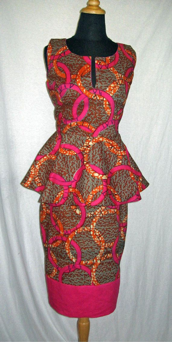 Pink Orange African Wax Print Peplum Top
