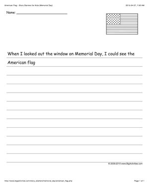 Memorial Day creative writing prompt featuring the American flag (story starter for kids)