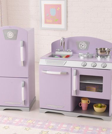 So cute for little girls and half off! Loving this Lavender Retro Stove & Refrigerator on #zulily! #zulilyfinds