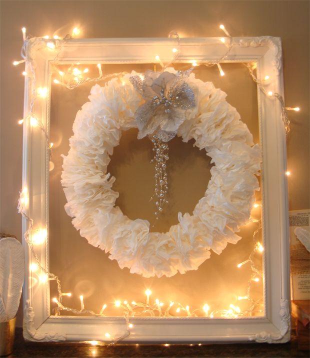 Λευκά Χριστούγεννα: ένα diy στεφάνι από φίλτρα καφέ diy coffee filter Christmas wreath