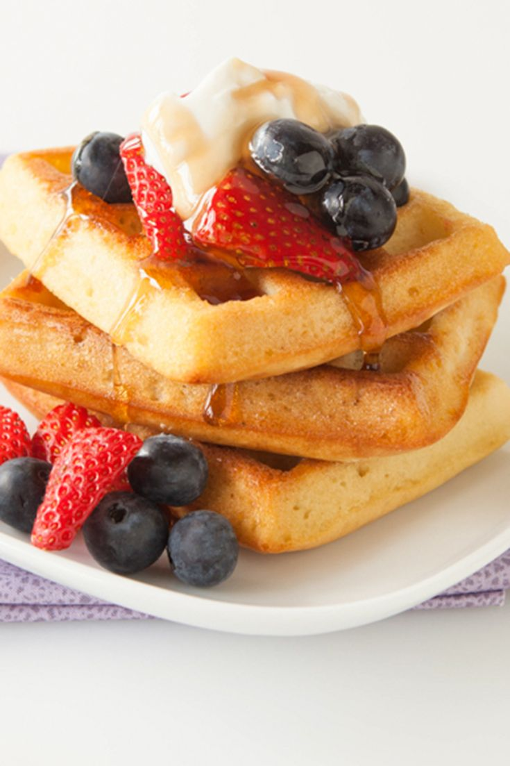 Tried and true, the consistency of this batter makes perfect golden waffles every time. You can make, bake, freeze, and reheat waffles in the oven the day of.