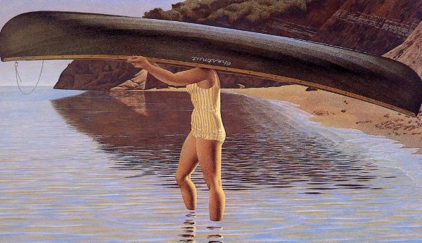 Alex Colville (1920-2013) - Woman Carrying Canoe)