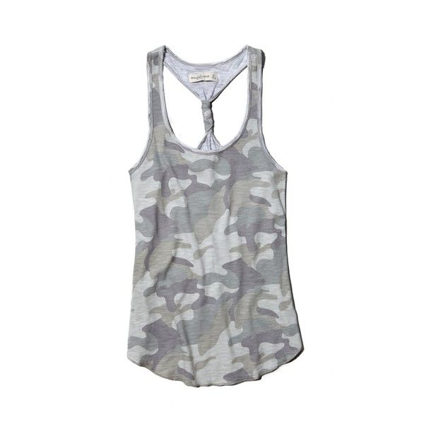 Abercrombie & Fitch Dessa Tank ($14) ❤ liked on Polyvore featuring tops, camo, racerback tank tops, camoflauge tank top, camouflage tops, racerback tank and racer back tops