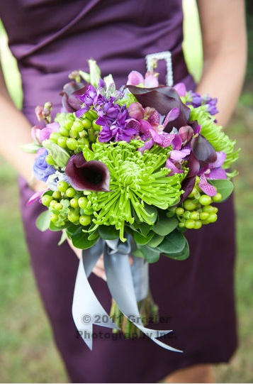 Wedding bridesmaid dresses plum grape alfred angelo, bridal bouquet, purple orchids, green spider mums, green hypericum berries, calla lily, saltwater farm vineyard