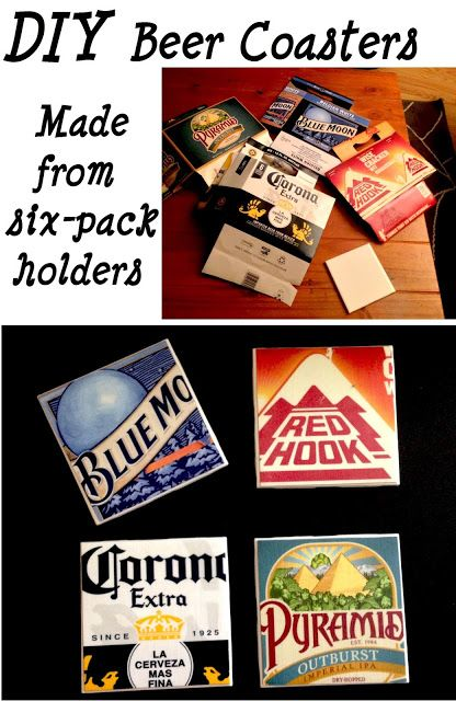 beer coasters- modgepodge felt on bottom of tile, modge podge 6-pack holder square on top of tile, coat top of 6 pack squares 2x w/ modgepodge(let dry inbetween coats) then coat w/ hi-gloss laquer(ex:Valspar Laquor hi gloss)