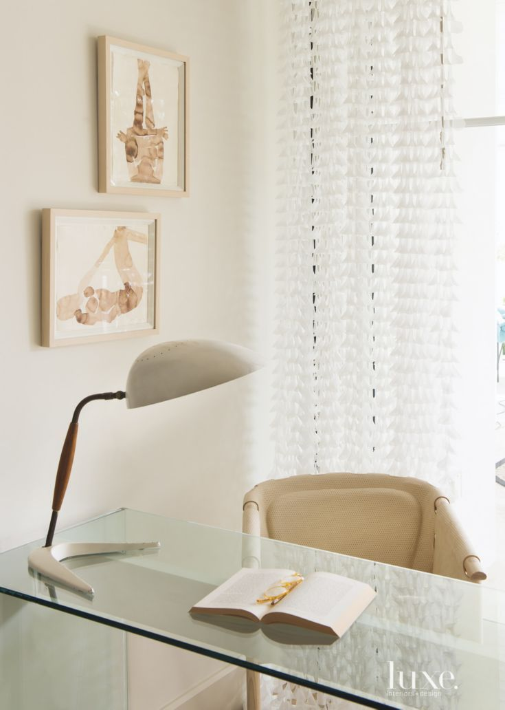 Eclectic White Office Nook Detail