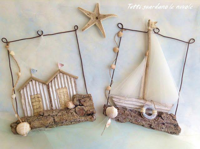 Decorazioni estive con corteccia e filo di ferro, paper, conchiglie, legnetti di mare.