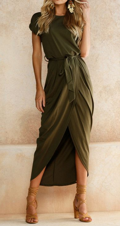 Olive always a great color, flattering silhouette, casual tee style top and tulip skirt combo unusual but love it. -JSA
