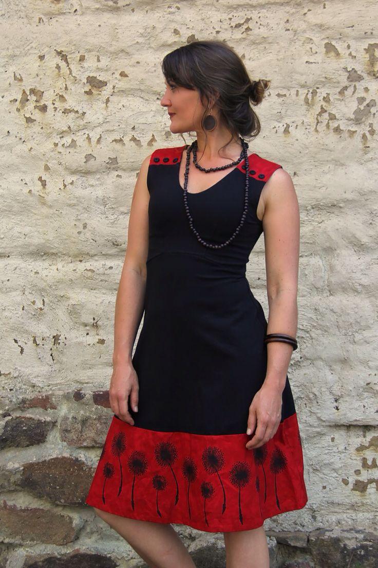 Dandelion dress. Hand block printed by artist Dalee Ella. Ethically Australian made, organic cotton garment.  Gwyllem.com.au