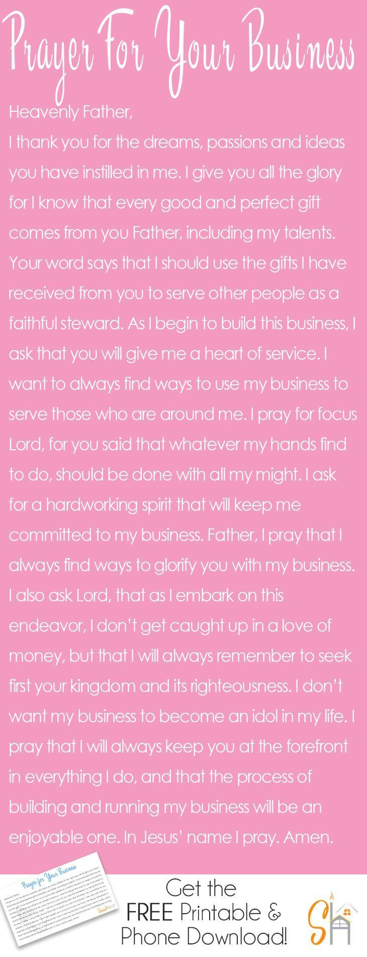 Working on building a business really requires guidance from the Lord. We need his guidance to show us what path to take and what moves to make. This prayer for your business was written to inspire you to lean on him always. Click through for a FREE mobil