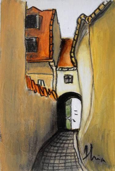 "Saatchi Art Artist Ana Maria Gruia; Painting, ""Narrow street in Transylvania"" #art"