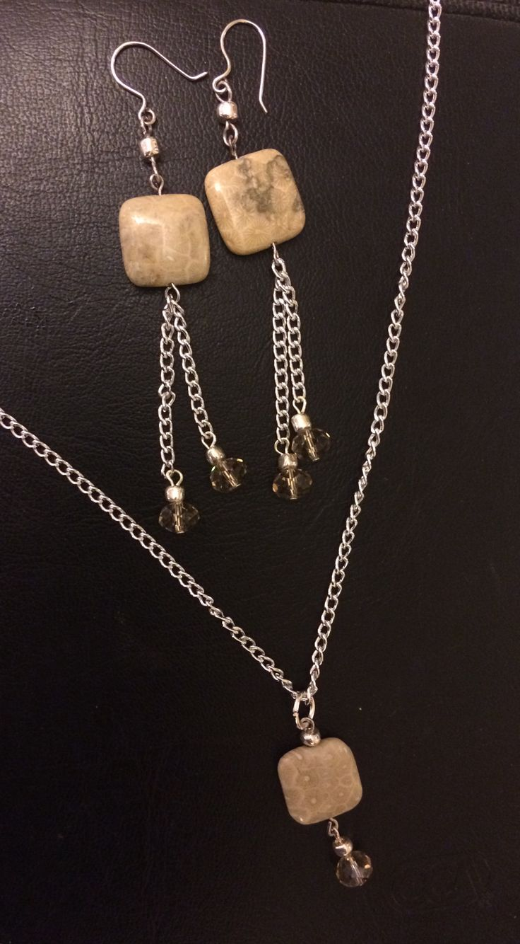 Stone and czech glass necklace and earrings