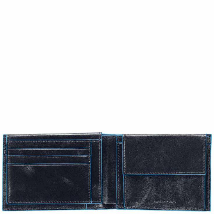 Piquadro Blue Square Herrenbrieftasche mit Portemonnaie, Kreditkartensteckfächern und Dokumentenfach black