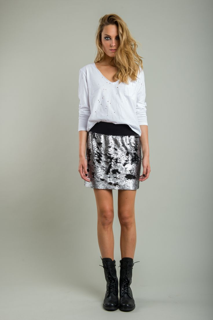 Γυναικεία φούστα με ασημί-μαύρη παγιέτα