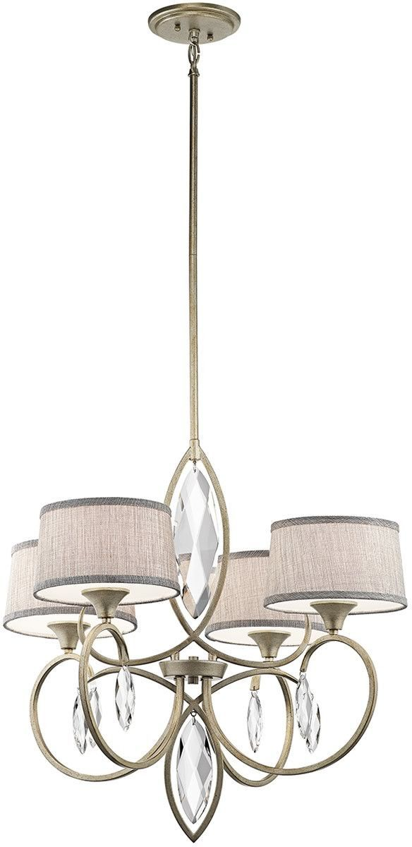 Casilda 4 light sterling gold chandelier